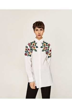zara koszula biala kwiaty