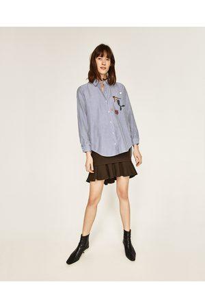Kobieta Koszule - Zara KOSZULA OVERSIZE Z HAFTEM