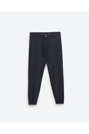 Mężczyzna Spodnie dresowe - Zara MELANŻOWE SPODNIE JOGGERS - Dostępny w innych kolorach