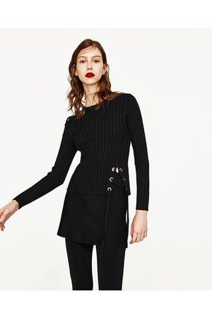 Kobieta Swetry i Pulowery - Zara SWETER Z PRĄŻKOWANEJ DZIANINY Z OZDOBNYM WIĄZANIEM