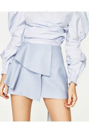 Kobieta Spódnice mini - Zara SPÓDNICA MINI ZE SZTUCZNEJ SKÓRY Z FALBANKAMI