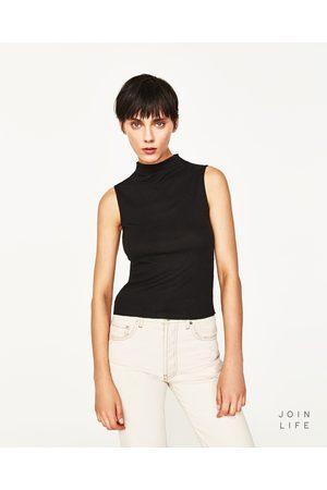 Kobieta T-shirty - Zara KOSZULKA Z PRĄŻKOWANEJ DZIANINY Z PÓŁGOLFEM - Dostępny w innych kolorach