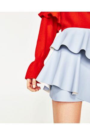 Kobieta Spódnice mini - Zara SPÓDNICA MINI ZE SZTUCZNEJ SKÓRY Z FALBANKAMI - Dostępny w innych kolorach