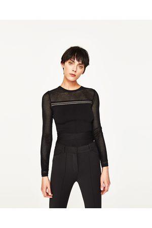 Kobieta Swetry i Pulowery - Zara SWETER O KRÓTSZYM KROJU Z AŻUROWYMI ZDOBIENIAMI NA RĘKAWACH I RAMIONACH