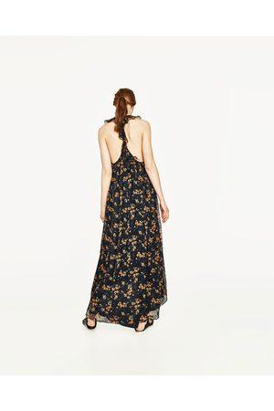 Kobieta Sukienki - Zara LONG STRAPPY DRESS WITH FRILL