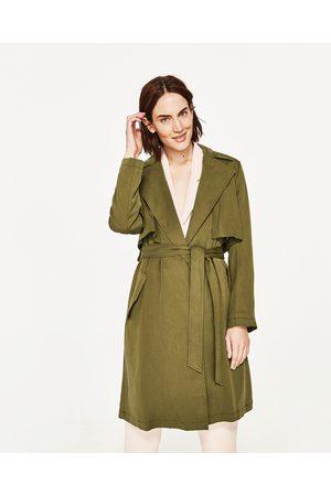 Kobieta Płaszcze - Zara LUŹNY PŁASZCZ NA PODSZEWCE W DROBNĄ KRATKĘ - Dostępny w innych kolorach