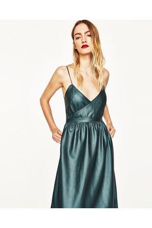 Kobieta Sukienki - Zara CROSSOVER FAUX LEATHER DRESS