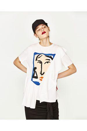 Kobieta T-shirty - Zara KOSZULKA Z BAWEŁNY EKOLOGICZNEJ Z FALBANKĄ