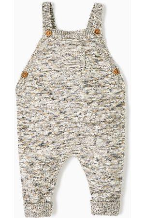 Spodnie - Zara SZARE SPODNIE OGRODNICZKI Z DZIANINY MELANŻOWEJ