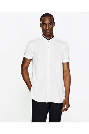 Mężczyzna Koszule - Zara KOSZULA Z PIKI ZE STÓJKĄ