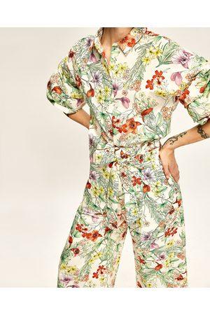 Kobieta Culottes - Zara SPODNIE TYPU CULOTTE W KWIATY