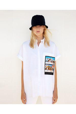 Kobieta Koszule - Zara KOSZULA OVERSIZE Z KIESZENIĄ Z NADRUKIEM