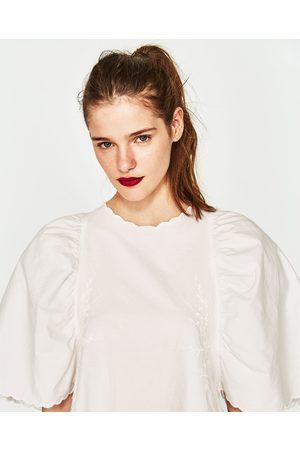 Kobieta Sukienki - Zara POPELINOWA SUKIENKA Z HAFTEM