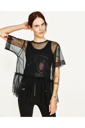 Kobieta T-shirty - Zara TIULOWA KOSZULKA Z ŁĄCZONYCH TAKNIN