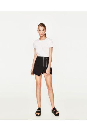 Kobieta T-shirty - Zara CONTRAST T-SHIRT WITH TIED DETAIL
