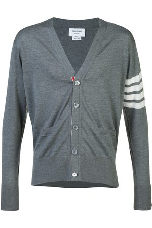 Thom Browne V-Neck Cardigan With 4-Bar Stripe In Medium Merino