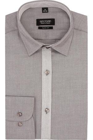 Recman Koszula bexley 26861 długi rękaw slim fit brąz