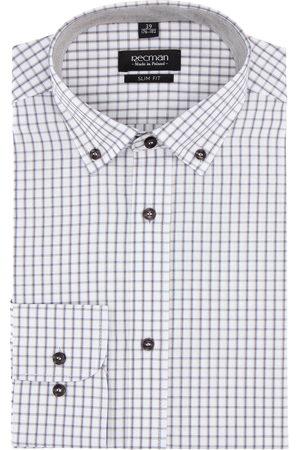 Recman Mężczyzna Na co dzień - Koszula bexley 2030 długi rękaw slim fit beż