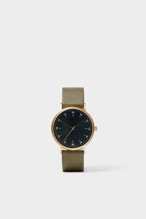Zara Mężczyzna Zegarki - Zegarek w stylu minimalistycznym z zielonym skórzanym paskiem