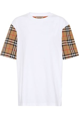 Burberry Kobieta Koszule - Check-sleeved cotton T-shirt