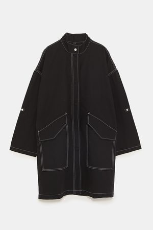 Zara LONG JACKET WITH CONTRASTING TOPSTITCHING