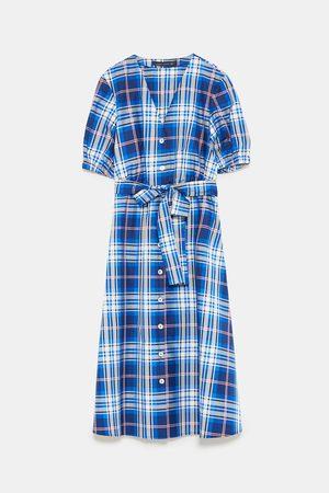 Zara CHECK TAFFETA DRESS