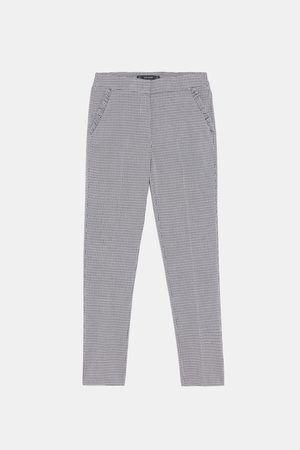 Zara CHECKED TROUSERS WITH RUFFLED POCKET