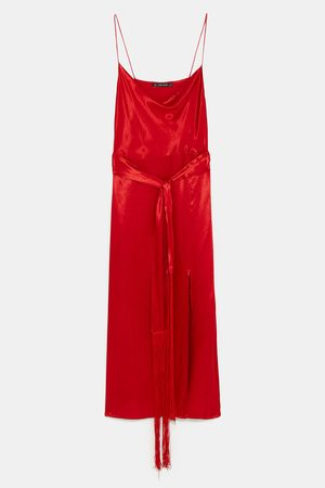 Zara CAMISOLE DRESS WITH FRINGED BELT