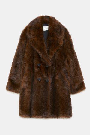 Zara DOUBLE-BREASTED FAUX FUR COAT