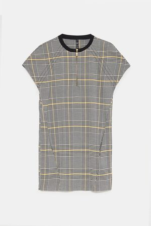 Zara CHECKED DRESS WITH ZIP