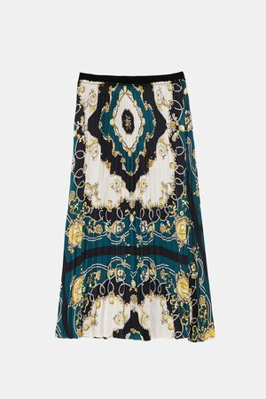 Zara Spódnice z nadrukiem - PLEATED SKIRT WITH PRINT