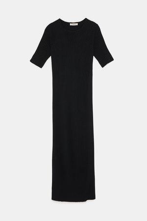 Zara Sukienki - SUKIENKA Z PRĄŻKOWANEJ DZIANINY