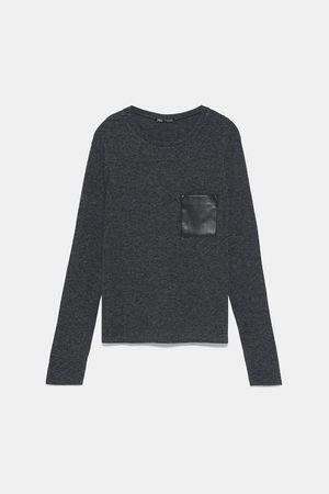 Zara Koszulka z kieszenią ze sztucznej skóry