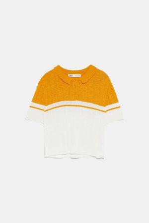 Zara Dwubarwna koszulka polo z dzianiny