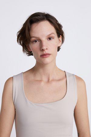 Zara T-shirty - KOSZULKA Z TKANINY ELASTYCZNEJ NA SZEROKICH RAMIĄCZKACH