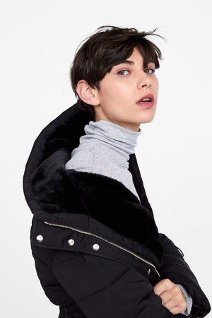 Zara Pikowany płaszcz z kapturem