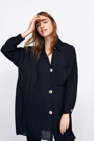 Zara Koszula oversize z guzikami w kolorze złotym