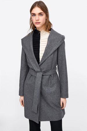 Zara Płaszcz z kapturem i paskiem