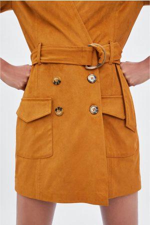 Zara Sukienka-kombinezon ze sztucznego zamszu
