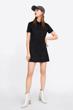 Zara Sukienka ze sztucznego zamszu z guzikami