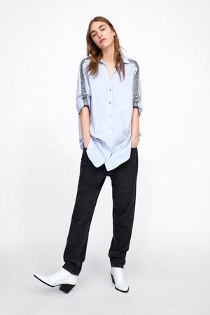 Zara Koszula z lampasami z nadrukiem w zwierzęcy deseń po bokach