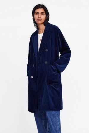 Zara Sztruksowy dwurzędowy płaszcz