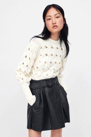 Zara Spódnica mini ze sztucznej skóry z paskiem
