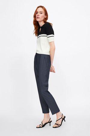 Zara Spodnie cygaretki z falbankami przy kieszeniach