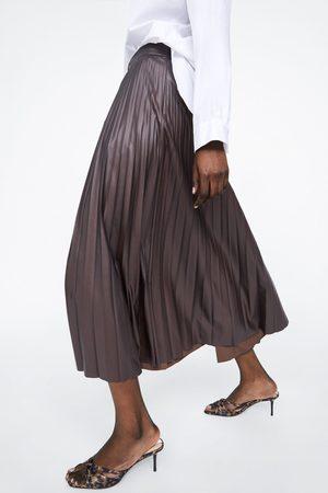 Zara Plisowana spódnica ze sztucznej skóry