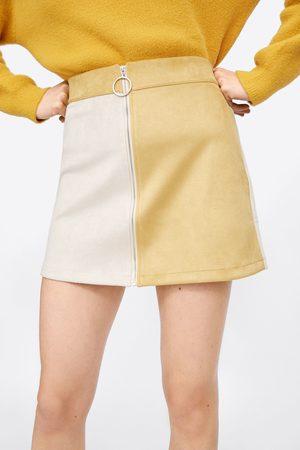 Zara Wielobarwna spódnica mini ze sztucznego zamszu