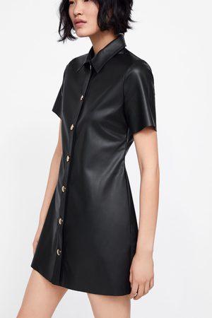 Zara Sukienka ze sztucznej skóry z guzikami