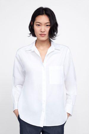 Zara Koszula z kieszenią z kolekcji basic