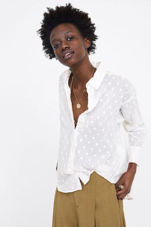Zara Bluzka oversize z haftem w kropki
