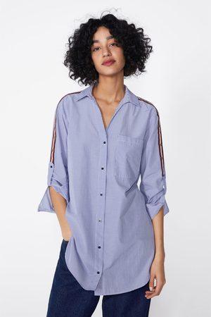 Zara Koszula w paski z kontrastowymi lampasami